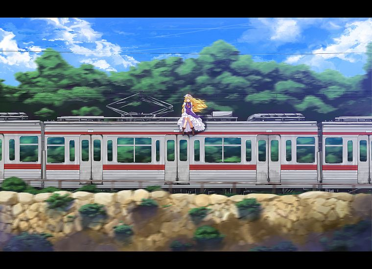 boots, blondes, video games, clouds, Touhou, trees, dress, trains, long hair, ribbons, outdoors, Yakumo Yukari, bows, power lines, sitting, vehicles, purple eyes, white dress, hats, anime girls, hair ornaments, tabard, skies - desktop wallpaper