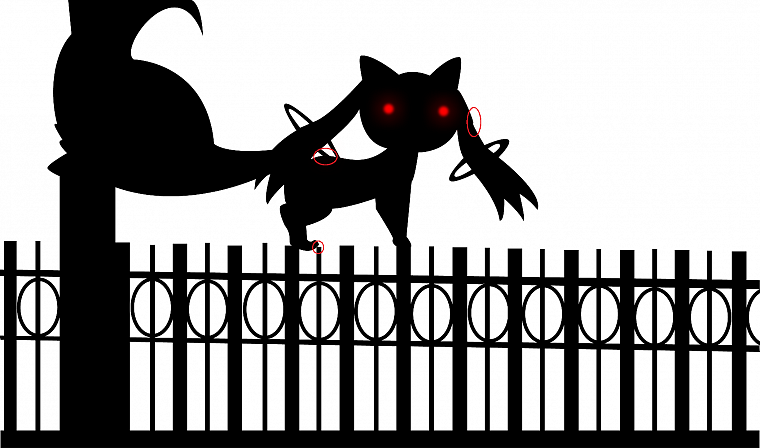 fences, red eyes, Mahou Shoujo Madoka Magica, anime, selective coloring, Kyubey - desktop wallpaper