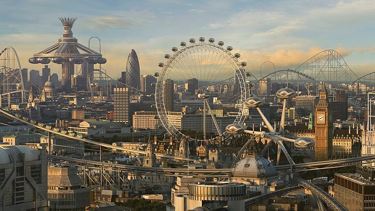 cityscapes, fake, CGI, London, London Eye, Big Ben, future cities, photo manipulations, Roller coaster - desktop wallpaper