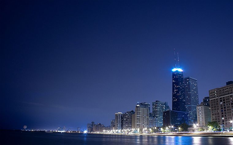 skylines, Chicago, night - desktop wallpaper