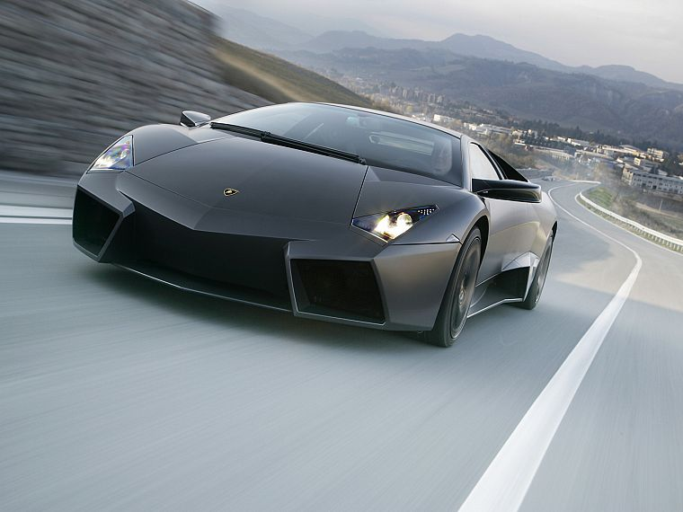 mountains, black, trees, lights, cars, hills, Lamborghini, roads, vehicles - desktop wallpaper