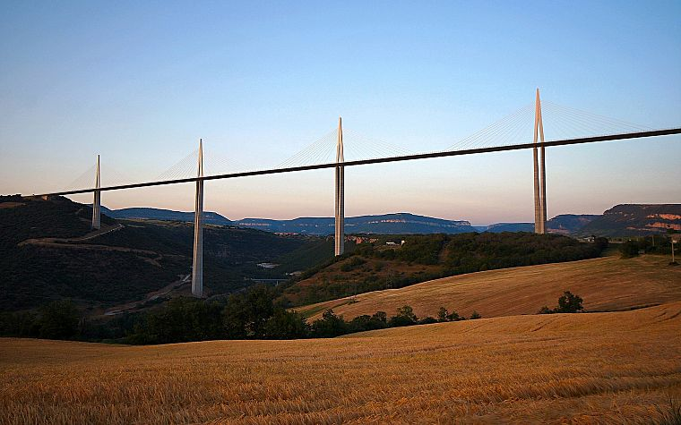 landscapes, France, bridges, Millau viaduct, skyscapes - desktop wallpaper