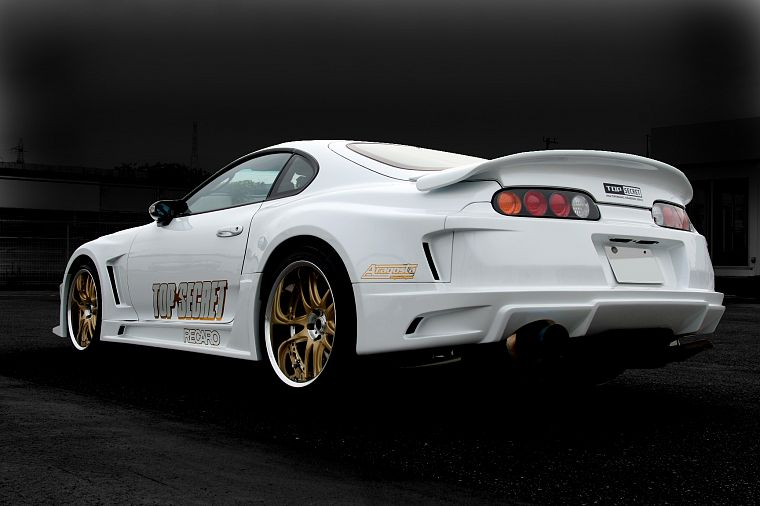 white, cars, Toyota, back view, vehicles, tuning, Toyota Supra, JDM Japanese domestic market - desktop wallpaper