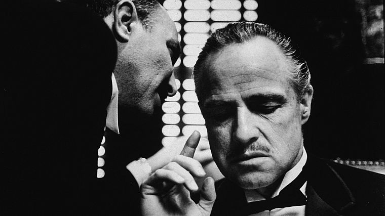 movies, The Godfather, monochrome, Vito Corleone, Marlon Brando, movie stills - desktop wallpaper