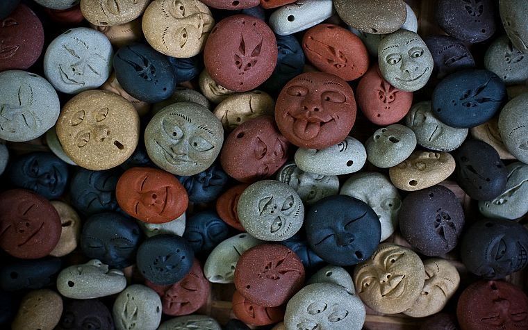 rocks, smiley, artwork, faces - desktop wallpaper