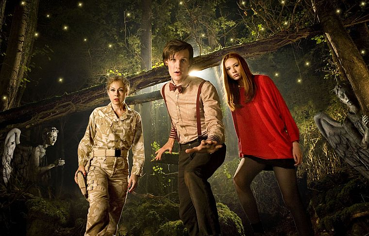 Matt Smith, Karen Gillan, Amy Pond, Eleventh Doctor, Doctor Who, River Song, Alex Kingston, weeping angel - desktop wallpaper