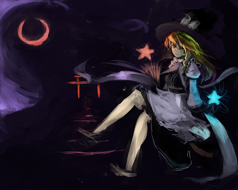 blondes, witch, Touhou, black, dark, stars, Moon, long hair, gate, yellow eyes, brooms, Kirisame Marisa, sitting, torii, braids, aprons, anime girls - desktop wallpaper
