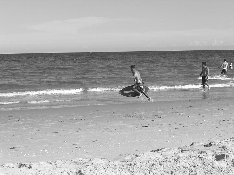 ocean, surfing, grayscale, monochrome - desktop wallpaper