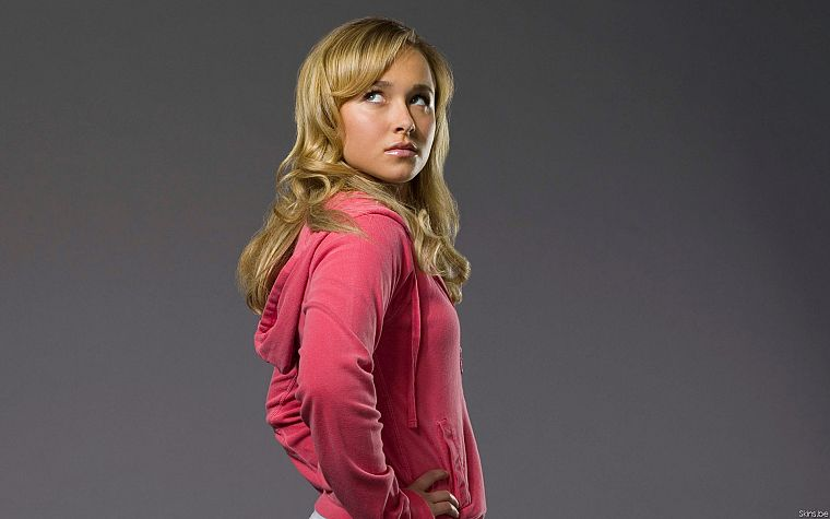 blondes, women, actress, Hayden Panettiere, celebrity, hoodies, simple background - desktop wallpaper