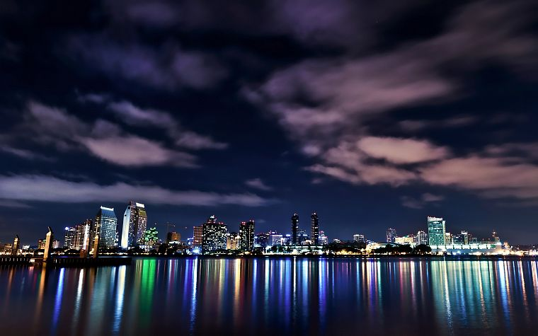 water, clouds, cityscapes, night, lights, skyscapes - desktop wallpaper