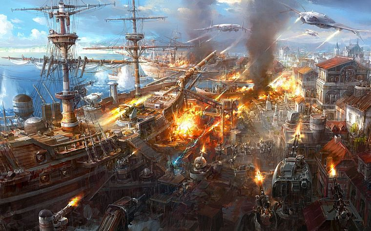 fantasy, aircraft, war, cityscapes, explosions, fire, smoke, ships, weapons, 3D, Jaecheol Park - desktop wallpaper