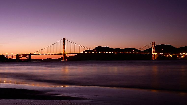 sunset, bridges, Golden Gate Bridge, San Francisco, sea, beaches - desktop wallpaper