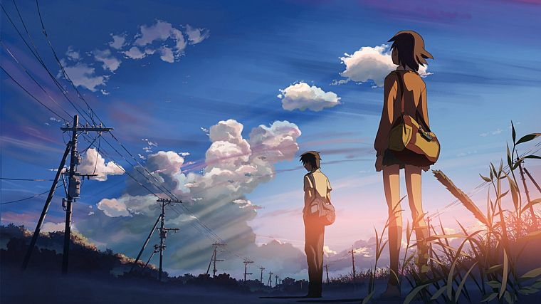 boy, women, clouds, skylines, Makoto Shinkai, 5 Centimeters Per Second, lovers, anime, skyscapes - desktop wallpaper