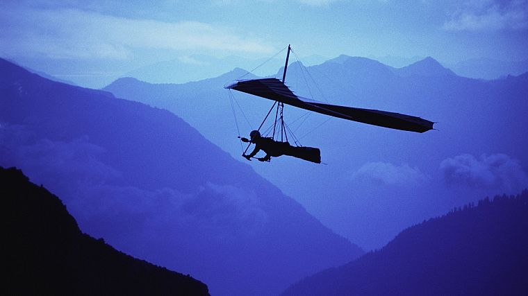mountains, flying, silhouettes, glider - desktop wallpaper