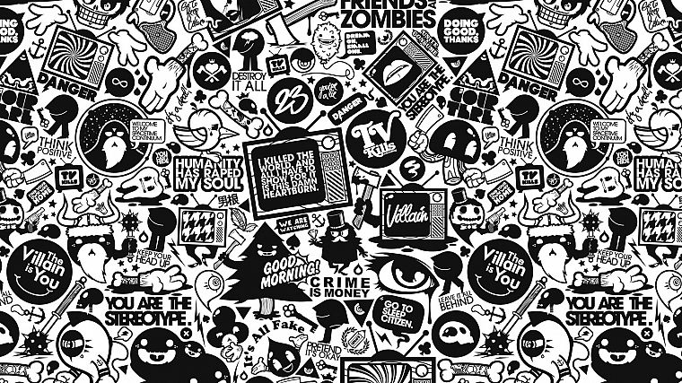 black and white, retro, typography, artwork, JThree Concepts, Jared Nickerson - desktop wallpaper