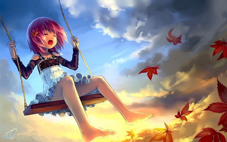 clouds, leaves, skirts, outdoors, pink hair, lolicon, anime, anime girls, Babycat (Artist), original characters - desktop wallpaper