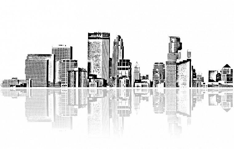cityscapes, architecture, buildings, grayscale, skyscrapers, monochrome, artwork, reflections - desktop wallpaper
