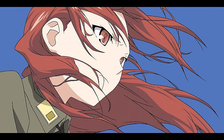 Strike Witches, uniforms, army, military, redheads, wind, long hair, brown eyes, Minna-Dietlinde Wilcke, simple background, anime girls, faces, blue background - desktop wallpaper