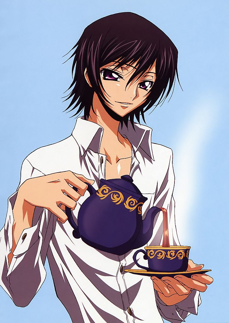 Code Geass, tea, Lamperouge Lelouch, anime, anime boys, teapots, pink eyes - desktop wallpaper