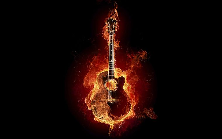 fire, guitars - desktop wallpaper