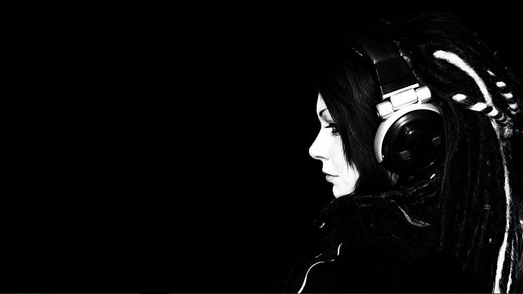 headphones, women, black, black background - desktop wallpaper