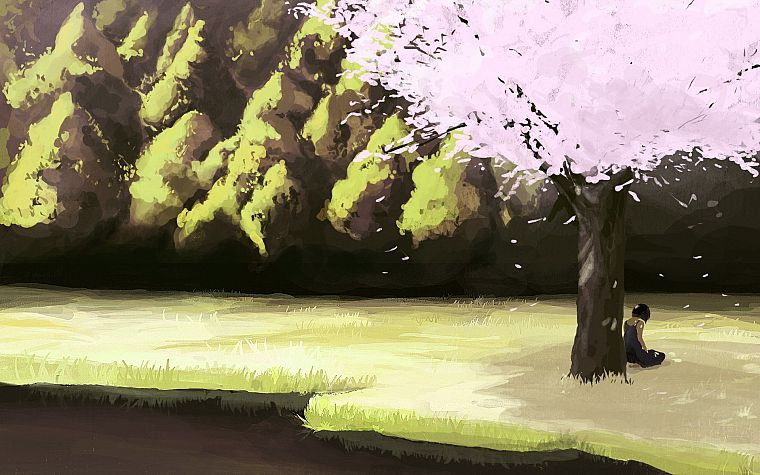 trees, artwork, flower petals - desktop wallpaper
