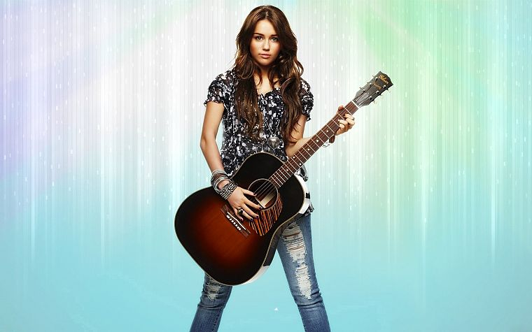 women, abstract, Miley Cyrus, celebrity, guitars - desktop wallpaper