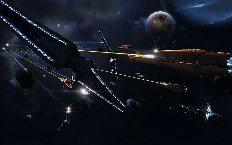 outer space, fight, rocks, spaceships, battles, science fiction, vehicles, moons - desktop wallpaper