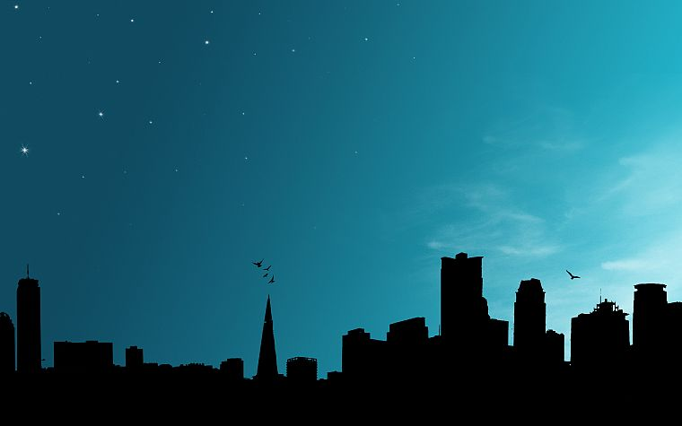 silhouettes, city skyline, skyscapes - desktop wallpaper