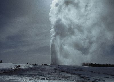 winter, snow, Wyoming, Yellowstone, geysers, National Park - desktop wallpaper