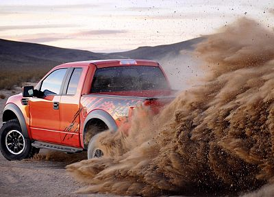 sand, orange, deserts, Ford, trucks, vehicles, Ford racing, Ford F-150 SVT Raptor, pickup trucks - related desktop wallpaper