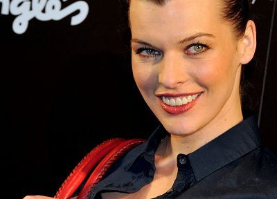 women, blue, actress, models, celebrity, smiling, Milla Jovovich - desktop wallpaper
