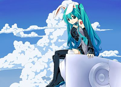 Vocaloid, Hatsune Miku, animal ears, detached sleeves - random desktop wallpaper