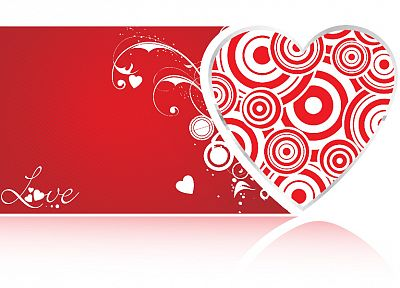 red, design, hearts - desktop wallpaper