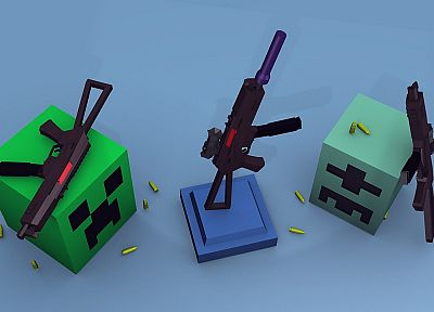 guns, creeper, Minecraft - desktop wallpaper