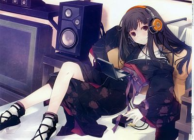 headphones, Japanese clothes, anime girls - random desktop wallpaper