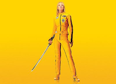yellow, Uma Thurman, Kill Bill, black mamba - random desktop wallpaper