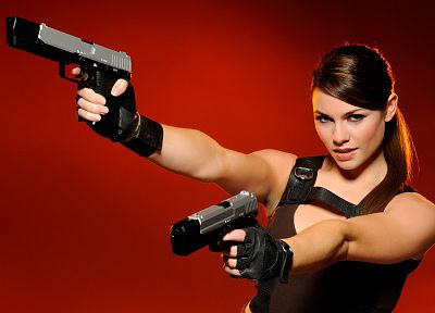 brunettes, women, red, models, Tomb Raider, Lara Croft, Alison Carroll, girls with guns, red background - random desktop wallpaper
