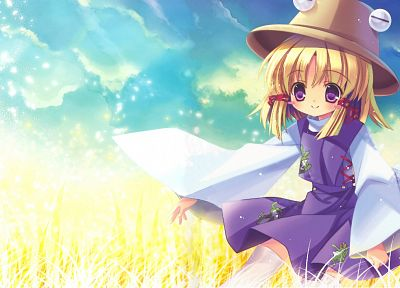 blondes, video games, Touhou, dress, stockings, Goddess, short hair, thigh highs, Moriya Suwako, purple eyes, flower petals, purple dress, skyscapes, hats, anime girls, Capura Lin, games, hair ornaments, bangs, white stockings, wide sleeves - related desktop wallpaper