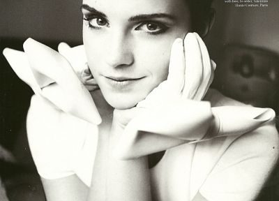 Emma Watson, monochrome, magazine scans - desktop wallpaper
