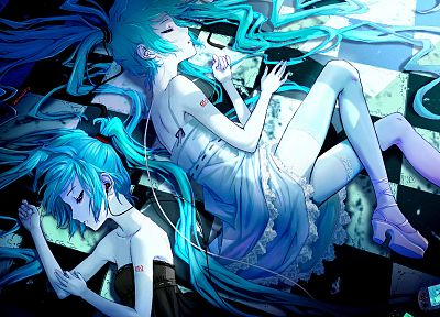Vocaloid, dress, Hatsune Miku, earphones, lying down, aqua hair, anime girls, G Scream, Playstation Portable - desktop wallpaper