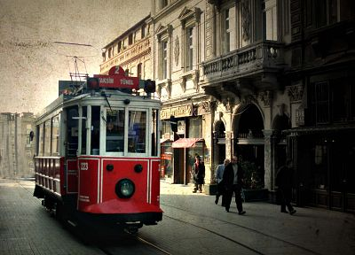 cityscapes, buildings, tram, Turkey, Istanbul, taksim, Istiklal street - related desktop wallpaper