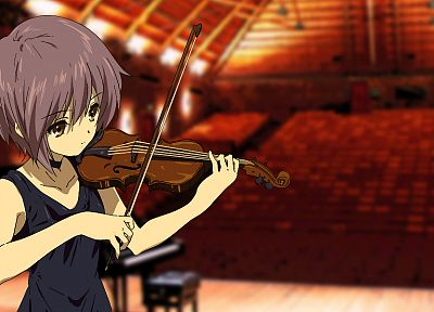 Nagato Yuki, The Melancholy of Haruhi Suzumiya, violins - random desktop wallpaper