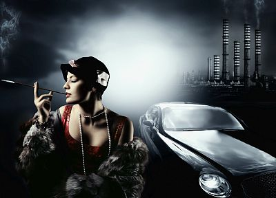 women, cars, cleavage - desktop wallpaper