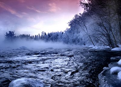clouds, winter, snow, forests, fog, scenic, rivers - related desktop wallpaper