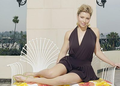 blondes, women, blue eyes, actress, models, Jessica Biel, celebrity - desktop wallpaper