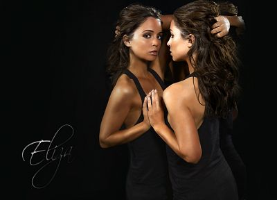 brunettes, women, mirrors, Eliza Dushku, black dress - related desktop wallpaper