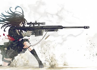school uniforms, snipers, anime, simple background, Kozaki Yusuke, original characters - desktop wallpaper