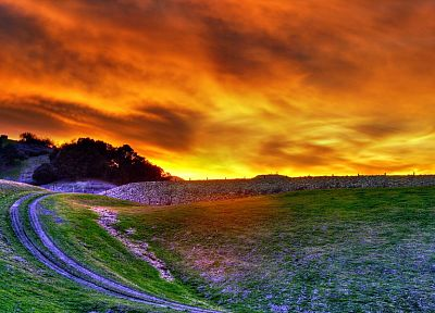 landscapes, nature, fields, roads, HDR photography - desktop wallpaper