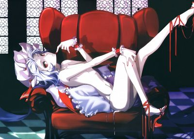 Touhou, vampires, red eyes, nude, Remilia Scarlet, anime girls - random desktop wallpaper